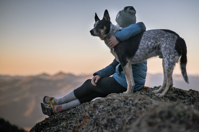 Photos Of Pets And Their Owners | a person in warm clothes jacket long socks and a beanie hat sitting on a rock with their arm around a dog looking at the sunset sunrise in front of a nature scene view mountain in the background