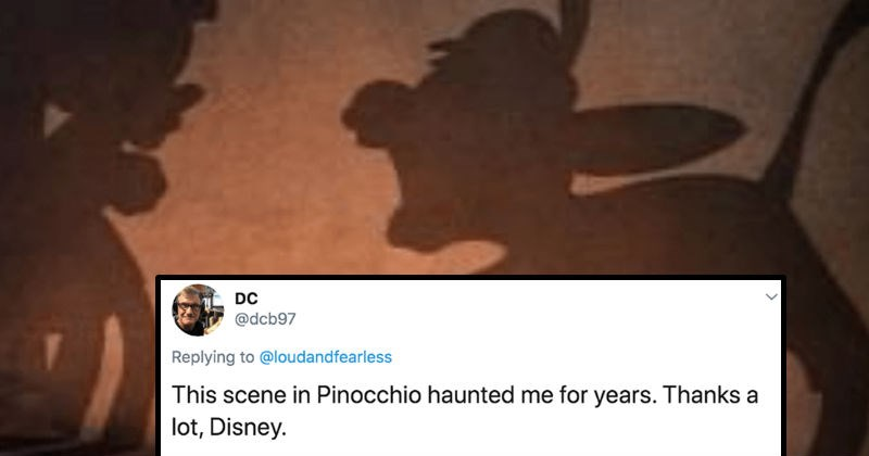 Twitter users describe the movies that scared them as kids | tweet by DC @dcb97 Replying loudandfearless This scene Pinocchio haunted years. Thanks lot, Disney. still from the disney movie Pinocchio silhouettes of a donkey and a boy