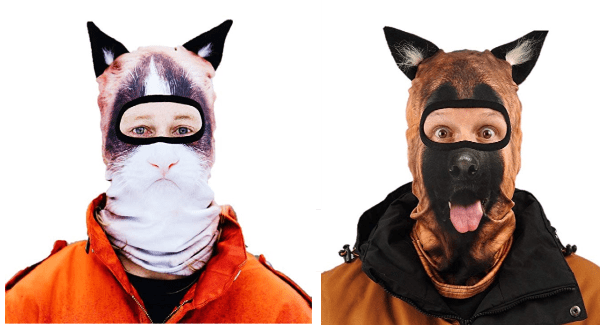 People Buy Fake 3D Animal Face Ski Masks | funny silly outfit clothing merch cat ears dog ears print pattern gift ideas shopping realistic animal faces creative