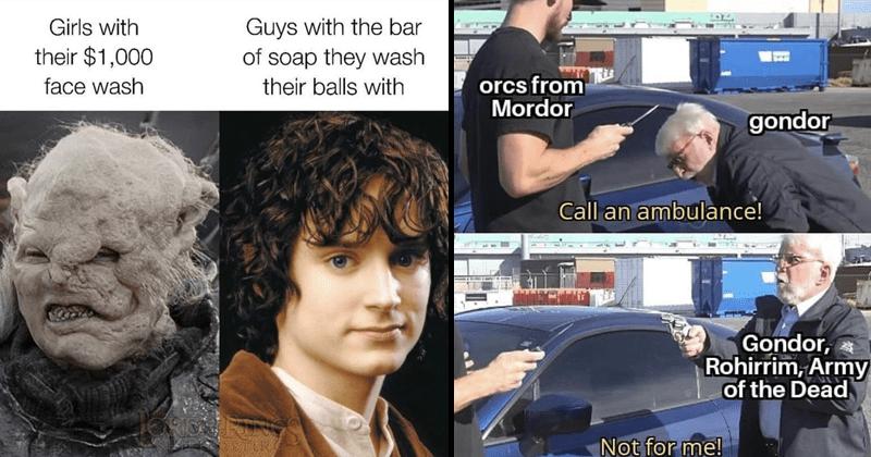 Funny memes about the Lord of The Rings trilogy and the hobbit, dank memes, gandalf, orcs, bilbo baggins, frodo baggins, elijah wood, orlando bloom, ian mckellen