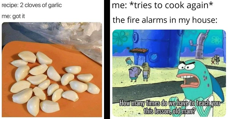 Funny memes about cooking and food | recipe: 2 cloves garlic got pic of many garlic cloves | tries cook again fire alarms my house many times do have teach this lesson, old man? sponegbob squarepants fish