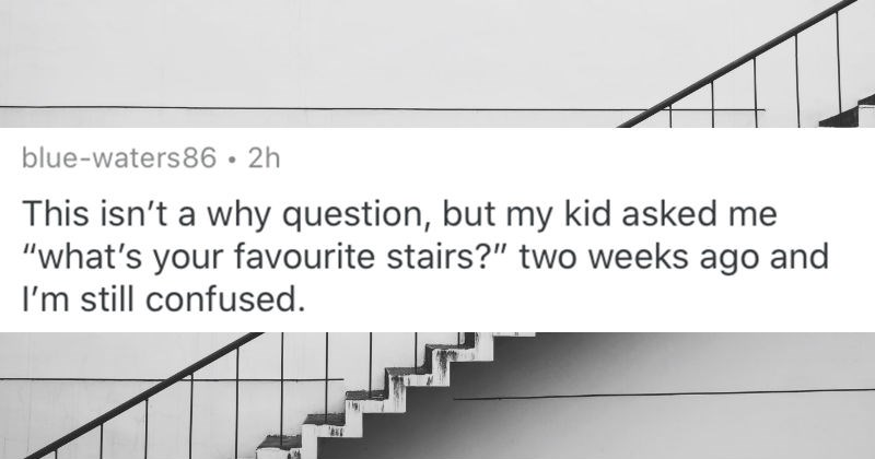Parents describe questions that their toddlers asked them that they just couldn't answer | reddit posted by blue-waters86 This isn't why question, but my kid asked s favourite stairs two weeks ago and still confused white staircase with black railing
