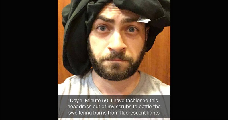 "Funny Snapchat story about a guy who gets stuck in an elevator and jokingly makes it into a ""Castway"" scenario 