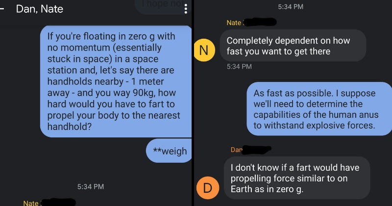 Guys chat about the math and physics using farts as propulsion in space.