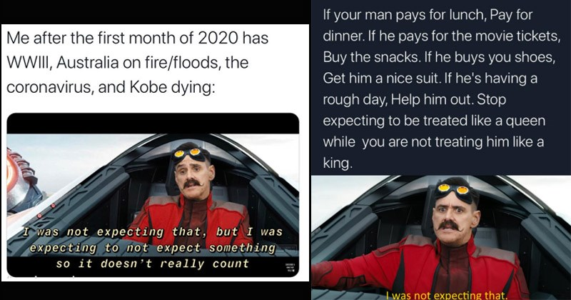 "Funny dank memes from the 'Sonic' movie entitled, ""I Was Not Expecting That"" featuring Jim Carrey 