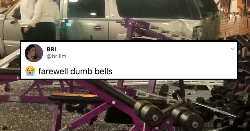 Jeep drives into a Planet Fitness and interrupts people's workouts | tweet by BRI @briilm farewell dumb bells pics of exercise machines in ruins and covered in glass shards and a banged up car stopped in the background