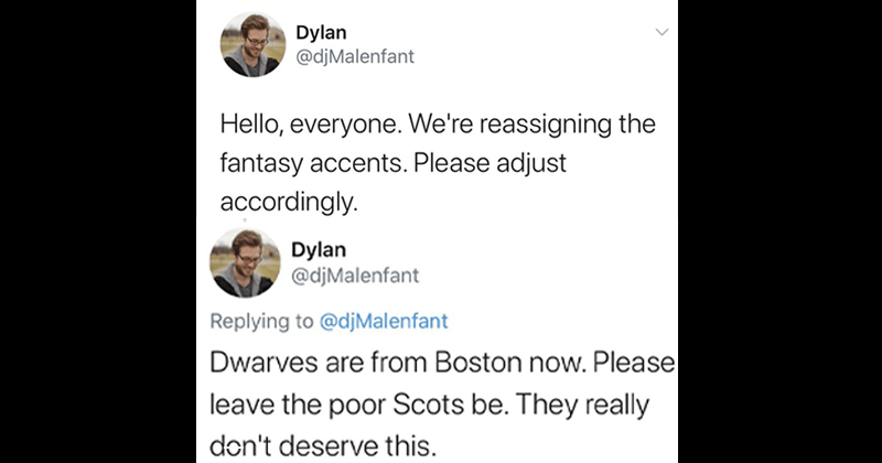 Funny thread about reassigning fantasy accents.