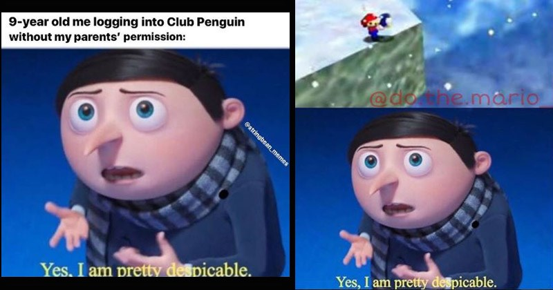 """Funny Dank memes from the movie 'Minions 2' entitled """"Yes, I am Pretty Despicable"""" gru as a young boy with hair and wearing his signature striped scarf 