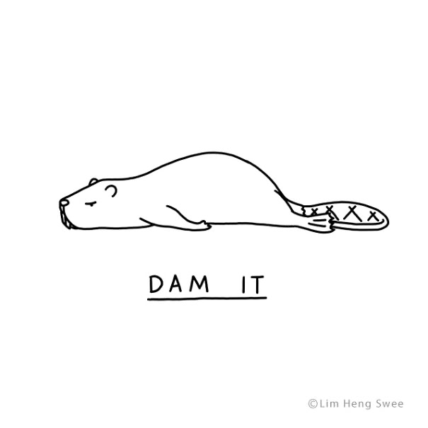 punny animal comics lazy art illustration mood puns mood funny lol cute | simple drawing art minimal funny pun animal angry moody beaver lying on its belly on the ground saying dam it sounds like damn it