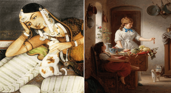 Facebook page about cats in art | painting illustration 14th century India woman in traditional clothes lounging on her side while petting a white and orange spotted cat | classical art woman in white dress holding a fish above a cat in the kitchen while a young girl watches Kitchen Idyll Anton Ebert