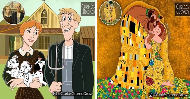 historical paintings disney characters art artist carlos gromo | american gothic grant wood 101 dalmatians roger and anita holding puppies | gustav klimt the kiss with belle and the beast from the beauty and the beast