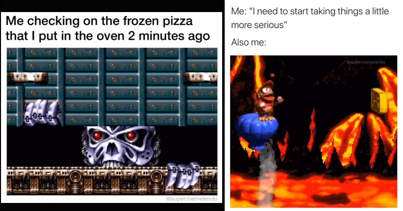 Funny video memes from the Super Nintendo games pixel old school | robot face checking on frozen pizza put oven 2 minutes ago @super.memetendo need start taking things little more serious Also super.memetendo floor is lava donkey kong