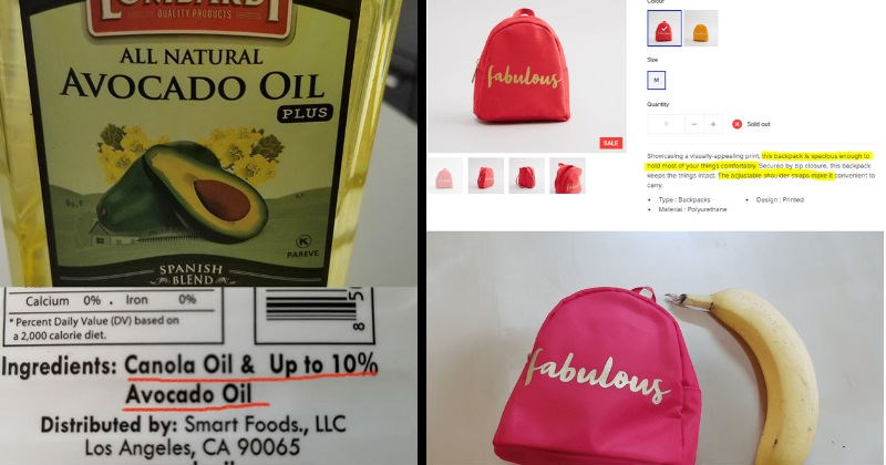 Manipulative and bad products and ads | Best By: JUN 18 2021 Lot# CO02320c LOMBARDI QUALITY PROQUCTS ALL NATURAL AVOCADO OIL PLUS 9649 PAREVE SPANISH BLEND Calcium 0 Iron Percent Daily Value (DV) based on 2,000 calorie diet. 00 Ingredients: Canola Oil Up 10% Avocado Oil Distributed by: Smart Foods LLC Los Angeles, CA 90065 www.avocadooilusa.com Packed USA Product Italy | Women Baos Walets Bags Printed Backpack with Zip Closure SAR 20SAR 12 Save SAR 8 (40N Earn 1 Shukran Colour Size fabulous