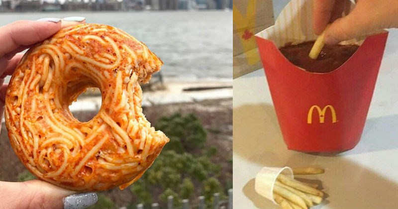 Collection of gross food items that look horrifying and terrible tasting | donut doughnut shape made of spaghetti with sauce | McDonald's french fries box container filled to the brim with ketchup and a few fries in a tiny sauce cup