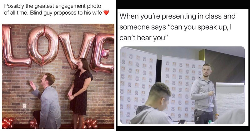 Funny random memes | Possibly greatest engagement photo all time. Blind guy proposes his wife man presenting a ring to a wall while his girlfriend watches from behind him balloons that spell out LOVE | presenting class and someone says can speak up can't hear