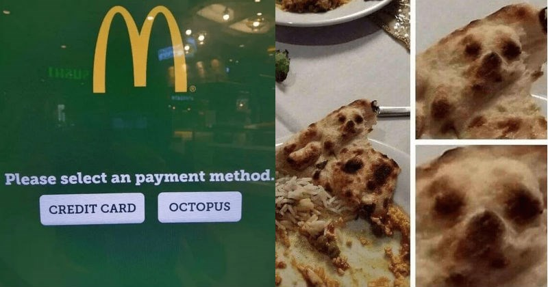 A collection of images that are both cursed and blessed | McDonald's logo Please select an payment method. CREDIT CARD OCTOPUS | piece of tortilla pizza dough with marks that look like the face of a dog
