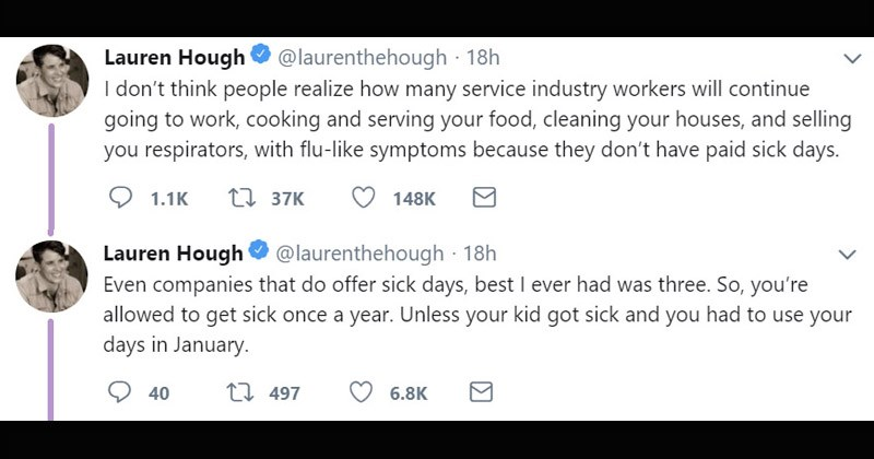 Informative Twitter thread about what happens to employees in the service industry when they get sick