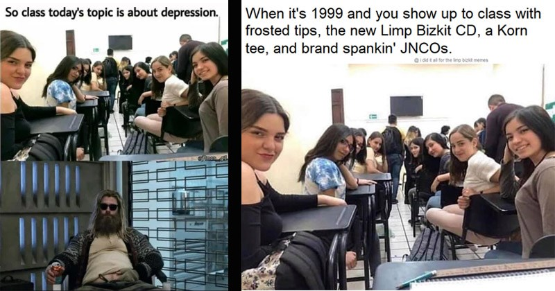 "Funny dank memes entitled, ""Girls In Class Looking Back"" 