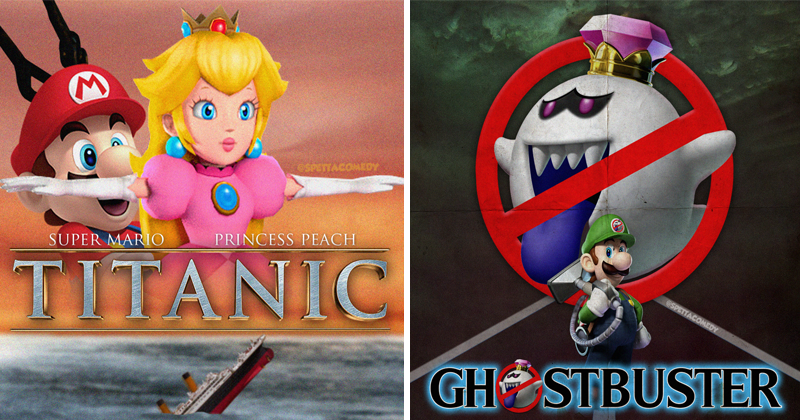 Artist @spettacomedy mixes Nintendo Mario characters with classic movie posters | titanic movie poster mario standing behind princess peach holding her hips | ghostbusters movie poster with luigi holding a vacuum cleaner and the boo ghost monster