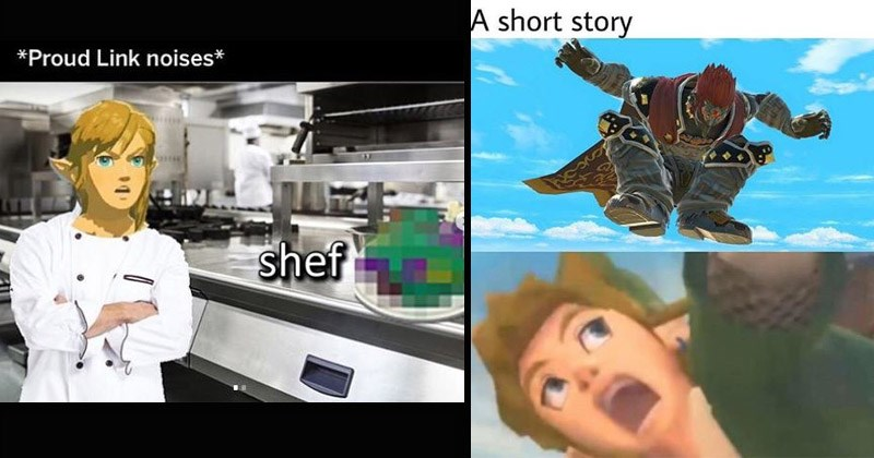 Funny memes about the Legend of Zelda | meme man stonks derivative legend of zelda Proud Link noises shef kitchen pixelated food | short story link screaming character jumping
