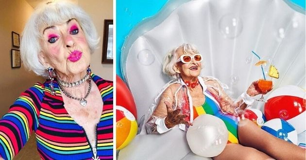 baddie winkle instagram influencer grandma cool old lady fashion baddiewinkle | grandma with white hair in a bob wearing bright pink makeup and dressed in a colorful rainbow striped shirt taking selfie while doing a duck face | cool grandma in a rainbow one piece swimsuit and a transparent jacket holding a drink cocktail in hand while posing inside an inflatable clam shell