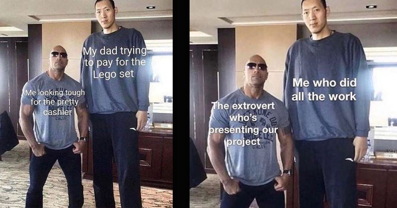 Funny dank memes featuring The Rock and professional Chinese basketball player Sun Ming Ming | My dad trying pay Lego set looking tough pretty cashier CALIF | who did all work extrovert who's presénting our project TALA