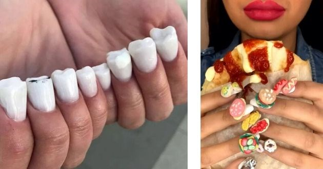 nail art, salon, russia, instagram, nails, manicure, russian, design | fake nails done shaped like human teeth | nails done as tiny miniature foods