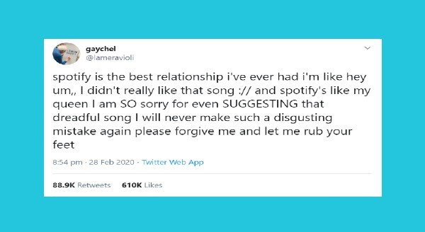 Funniest women tweets | gaychel @lameravioli LESBIAN RINTS spotify is best relationship ever had like hey um didn't really like song and spotify's like my queen am S0 sorry even SUGGESTING dreadful song will never make such disgusting mistake again please forgive and let rub feet
