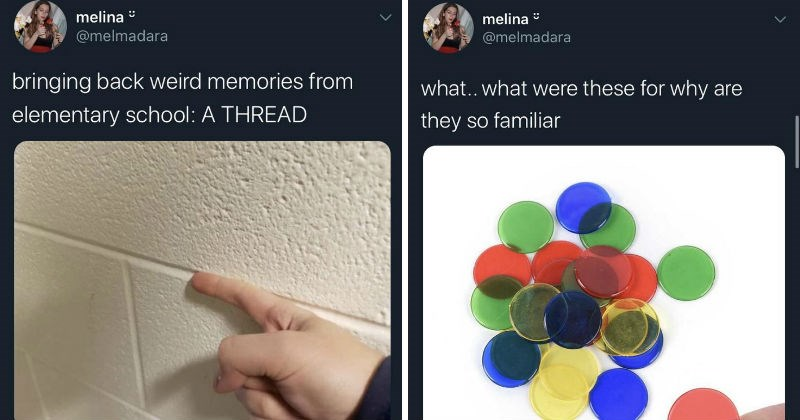 Twitter thread brings back nostalgia of elementary school in the 90s | melina @melmadara bringing back weird memories elementary school THREAD 9:55 am 3/3/20 Twitter iPhone 102K Retweets 541K Likes. melina @melmadara were these why are they so familiar