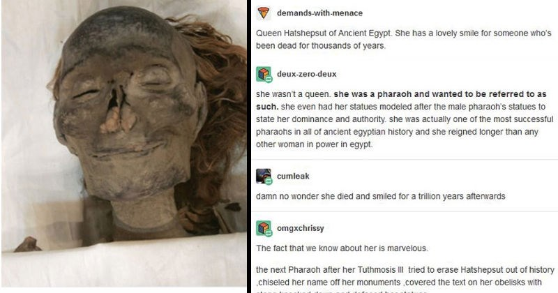 Tumblr thread on interesting female pharaoh history | demands-with-menace Queen Hatshepsut Ancient Egypt. She has lovely smile someone who's been dead thousands years | deux-zero-deux she wasn't queen. she pharaoh and wanted be referred as such. she even had her statues modeled after male pharaoh's statues state her dominance and authority. she actually one most successful pharaohs all ancient egyptian history and she reigned longer than any other woman power egypt. cumleak damn no wonder she