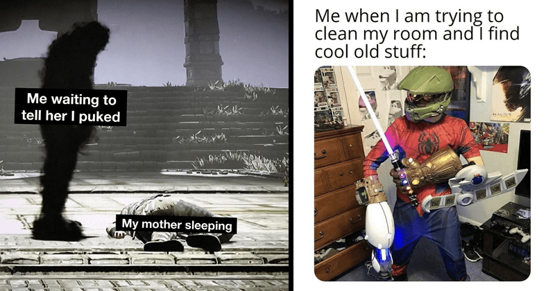 funny random memes, funny tumblr posts, gamer beds, nerdy memes funny memes   shadowy figure standing above a body on the ground waiting tell her puked My mother sleeping   am trying clean my room and find cool old stuff: person in a helmet wearing an infinity gauntlet a light sabre and yu gi oh card deck holder