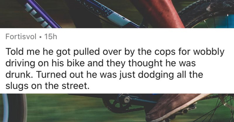 Teachers share the best excuses they got that ended up being true | reddit posted by Fortisvol Told he got pulled over by cops wobbly driving on his bike and they thought he drunk. Turned out he just dodging all slugs on street.