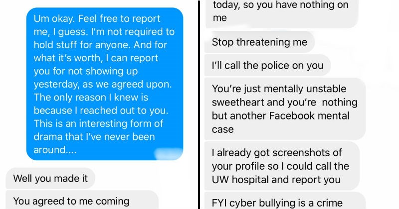 Karen doesn't get easter decorations on facebook and sends threats | Um okay. Feel free report guess not required hold stuff anyone. And s worth can report not showing up yesterday, as agreed upon only reason knew is because reached out This is an interesting form drama l've never been | Stop threatening 2 call police on just mentally unstable sweetheart and nothing but another Facebook mental case already got screenshots profile so could call UW hospital and report FYI cyber bullying is crime