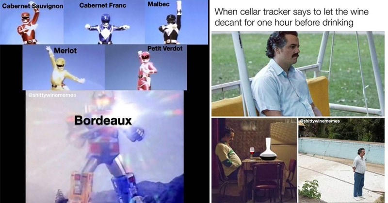 Funny memes about wine | Power Rangers combine into megazord Cabernet Sauvignon Cabernet Franc Malbec Merlot Petit Verdot @shittywinemenmes Bordeaux | cellar tracker says let wine decant one hour before drinking shittywinememes Pablo Escobar waiting meme