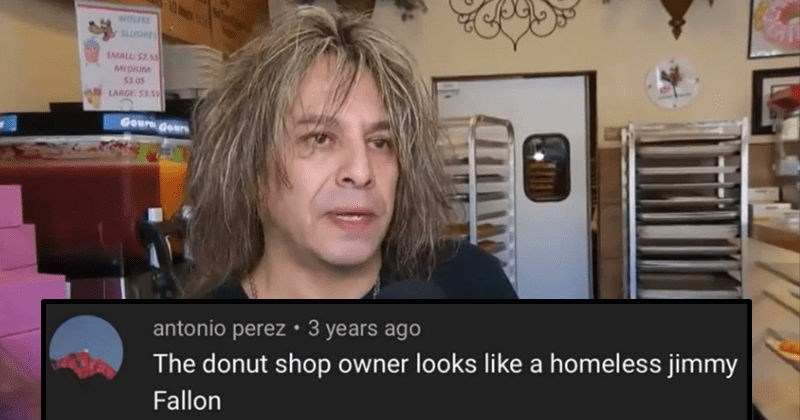 A collection of creative insults that rocked people to their very core | INSIDE ASTER edition INSIDE edition ASiTicn antonio perez donut shop owner looks like homeless jimmy Fallon man with long scraggly hair tv interview