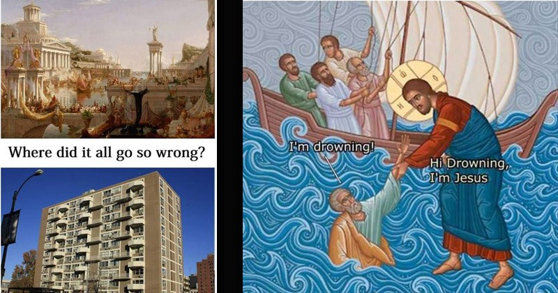 Funny memes featuring classical art | Where did all go so wrong? ugly modern building vs classical landscape greek architecture | drawing artwork painting of jesus walking on water and reaching for a drowning man's hand while a group of men sails in a boat nearby drowning! Hi Drowning Jesus