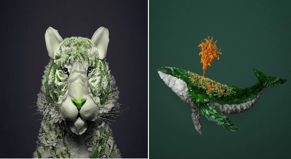 Artist Turns Flower Arrangements Into Colorful Animal Sculptures | elaborate intricate animals made out of flowers and plants | face of a white tiger with green stripes | green orca whale shooting orange water out of its blowhole