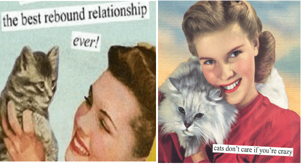 Celebrating Women's Day With Sarcastic Retro Pics Only Pet Ladies Understand | best rebound relationship ever! | cats don't care if crazy | vintage colored photos of women holding cats