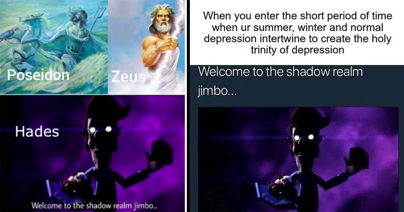 "Funny dank memes from Jimmy Neutron of Jimmy's dad hidden in shadows with glowing eyeglasses reflecting light and yu gi oh card deck entitled, ""Welcome to the Shadow Realm, Jimbo"" 