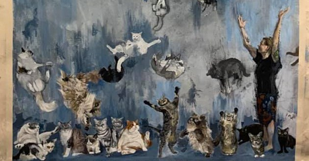 cats internet famous painting amazing animals art artist cool lil bub grumpy cat smudge thurston waffles | acrylic water painting drawing rain raining cats woman standing among cats falling from the sky