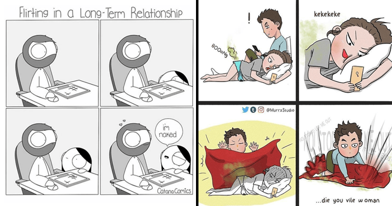 cute and relatable comics about relationships | Flirting Long-Term Relationship im naked woman peeking up from under table where man is working | kekekeke BOOONG NO STOP IT LET OUT OUT die vile woman guy covers farting girl with blanket