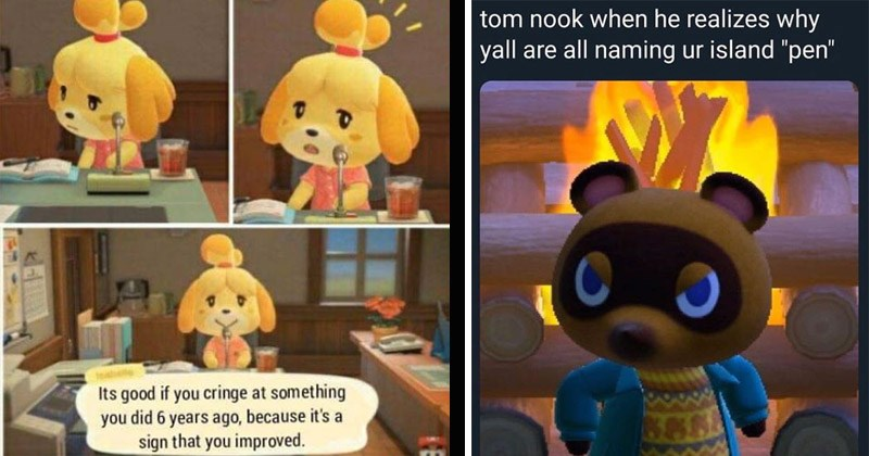 "Funny memes about the game Animal Crossing | Its good if cringe at something did 6 years ago, because 's sign improved. isabelle looking up from desk | tom nook he realizes why yall are all naming ur island ""pen"" penis land"