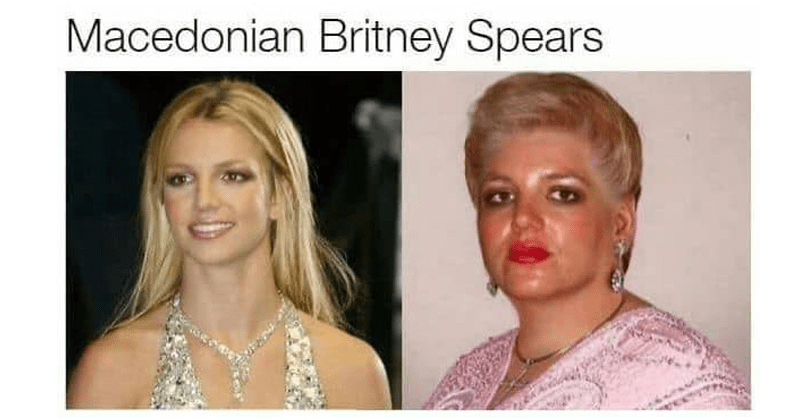 funny celebrity doppelgangers | Macedonian Britney Spears middle aged woman with short blonde hair heavy eye makeup and red lipstick who resembles britney spears