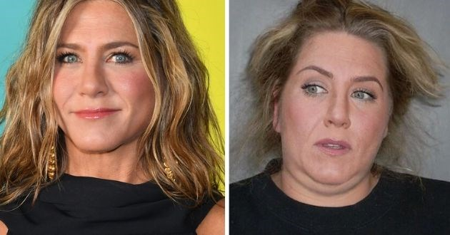 celebrity lookalike funny Instagram makeunder celeb famous realistic ordinary | Jennifer Aniston made up for the red carpet and edited photshop pic of her as a woman with a double chin and messy hair