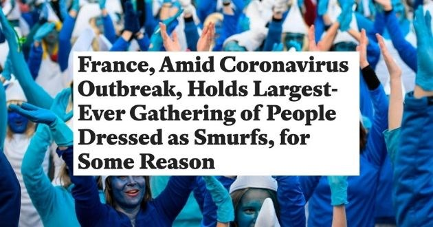 smurf coronavirus world record france funny news pandemic guiness world record | FRANCE AMID CORONAVIRUS OUTBREAK HOLDS LARGEST EVER GATHERING OF PEOPLE DRESSED AS SMURFS FOR SOME REASON