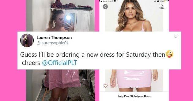 online shopping expectations vs reality funny tweets twitter dress savage response | Lauren Thompson @laurensophie01 Guess I'll be ordering a new dress for Saturday then cheers @OfficialPLT