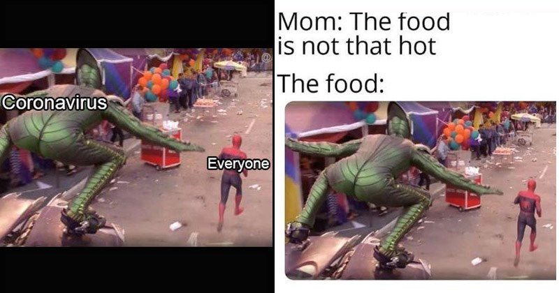 Funny dank memes from Spider-Man featuring the Green Goblin chasing Spider-Man | coronavirus everyone | Mom food is not hot food: green goblin butt in spandex