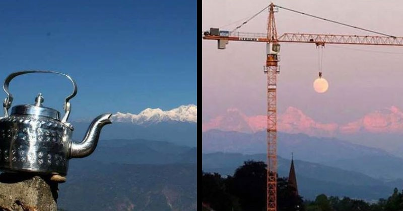 Confusing pictures that play with perspective and create optical illusions | pics taken at the right moment perfectly timed kettle that lets out a stream of steam that is actually snowy mountains in the background crane holding up the moon