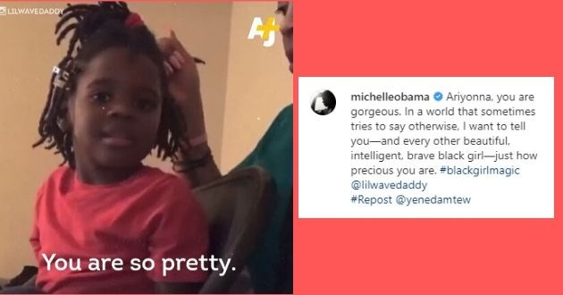 internet supports crying child little girl four years old michelle obama heartwarming | michelleobama Verified Ariyonna, you are gorgeous. In a world that sometimes tries to say otherwise, I want to tell you—and every other beautiful, intelligent, brave black girl—just how precious you are. #blackgirlmagic @lilwavedaddy #Repost @yenedamtew