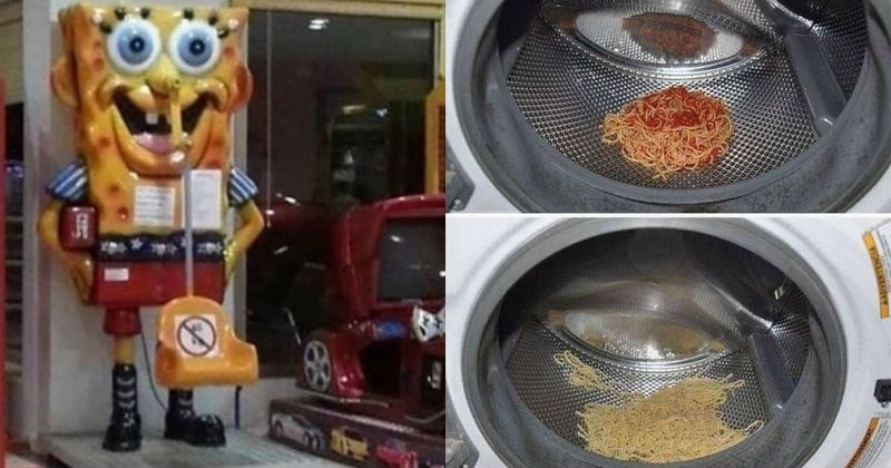 A collection of cursed images | scary spongebob squarepants coin operated kiddie ride | before and after photos of spaghetti with tomato sauce in a laundry machine